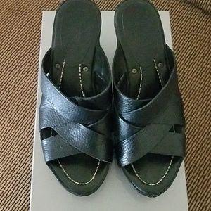 Black Frye leather wedge sandals